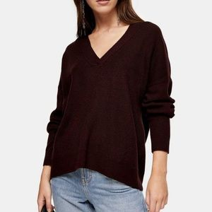 Topshop Nordstrom Knitted V Neck Sweater Wool